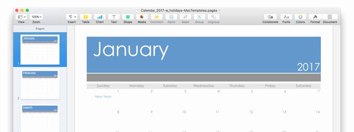 Calendar Template for Pages Mac Unique Calendar Template for Pages and Pdf Updated for 2017