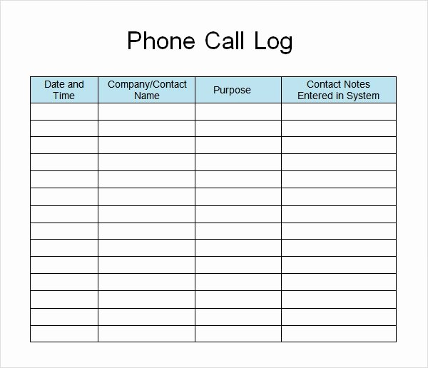 Call Back List Template Beautiful 13 Sample Call Log Templates Pdf Word Excel Pages