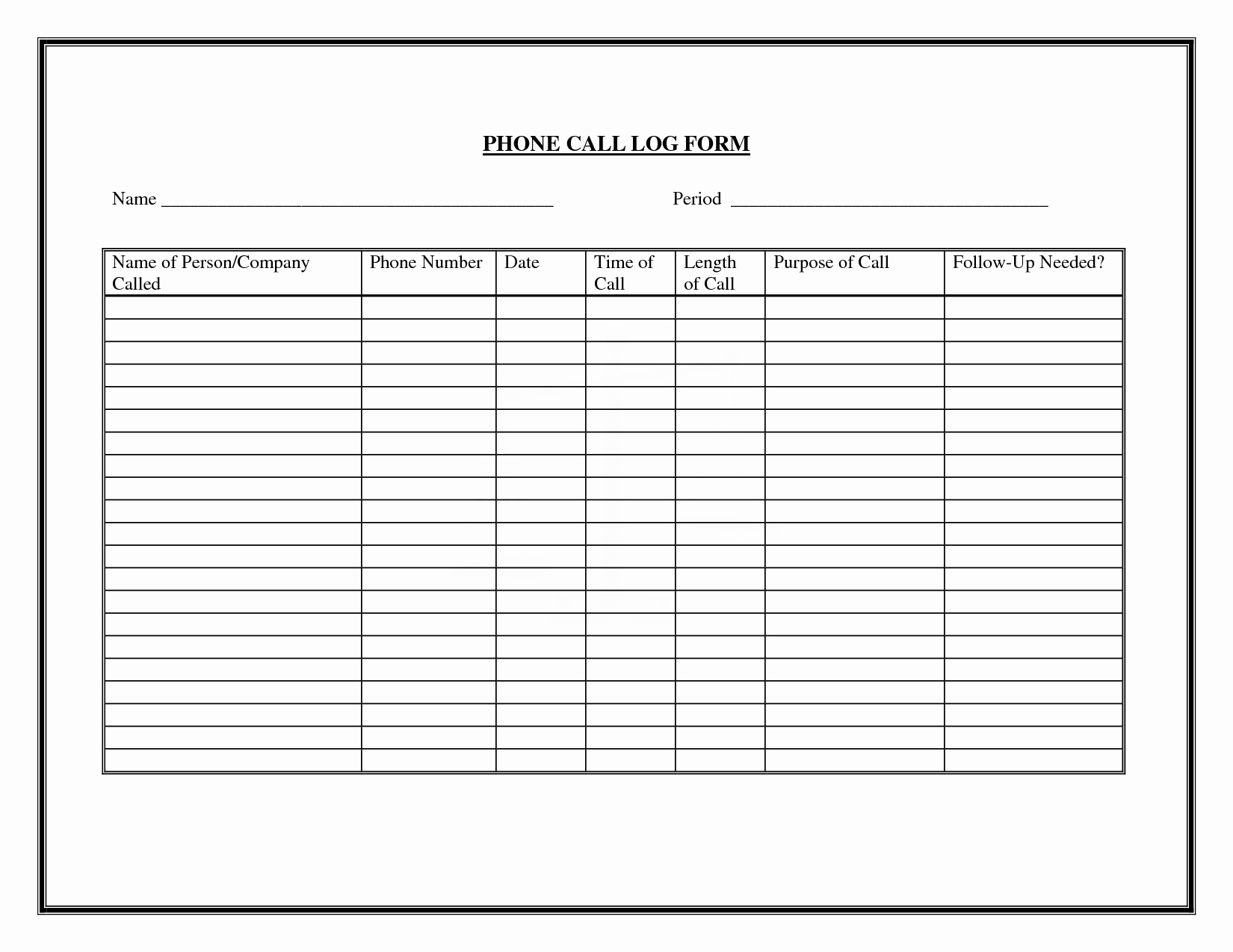 Call Back List Template Fresh 9 Best Of Free Printable Phone Log form Free