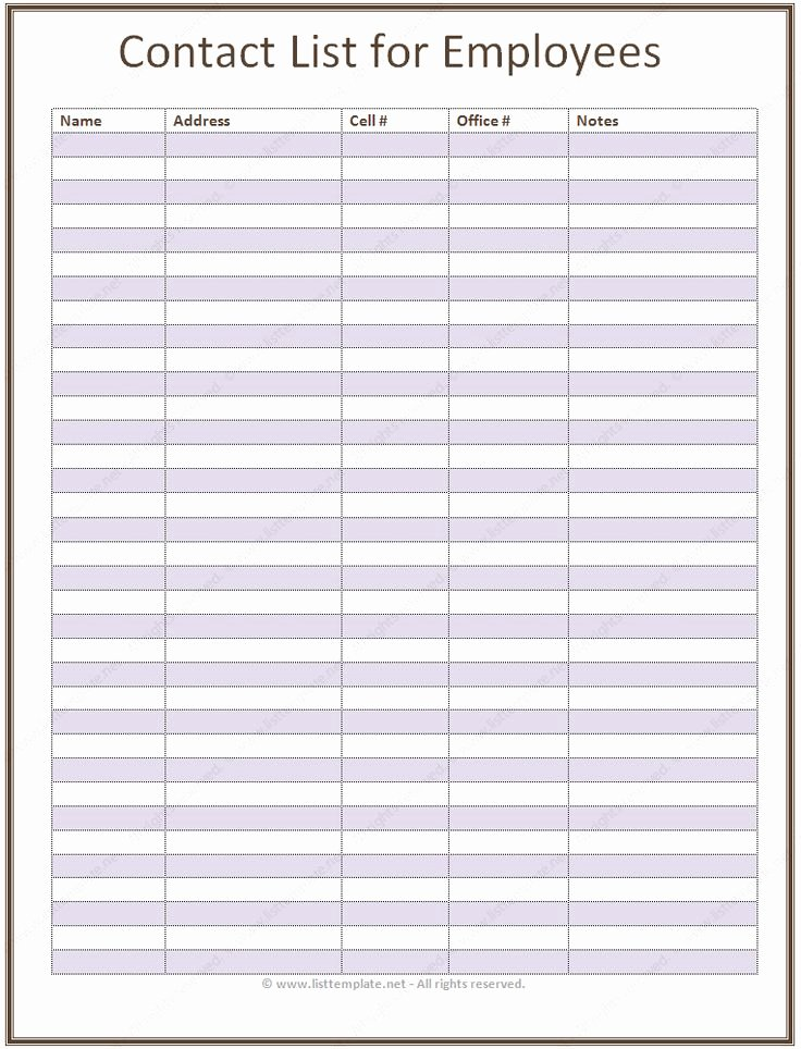 Call Back List Template Fresh Employee Contact List Template In A Basic format