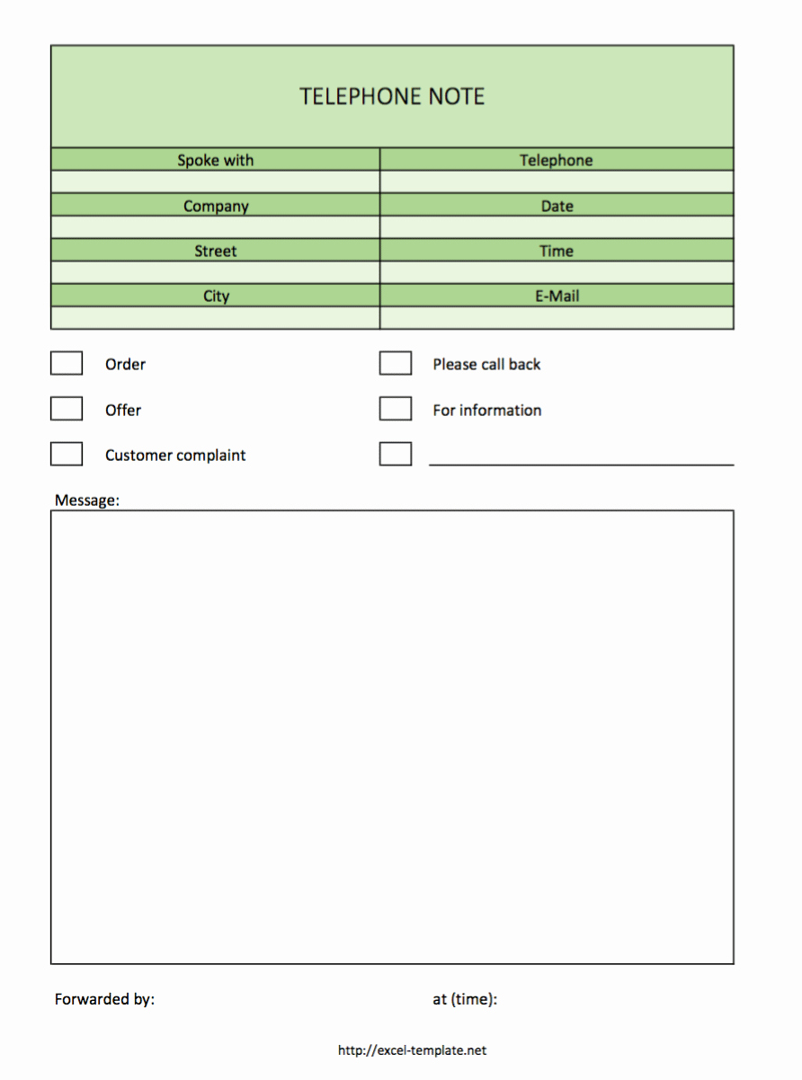 Call Back List Template Inspirational Free Telephone Notes as Excel Template
