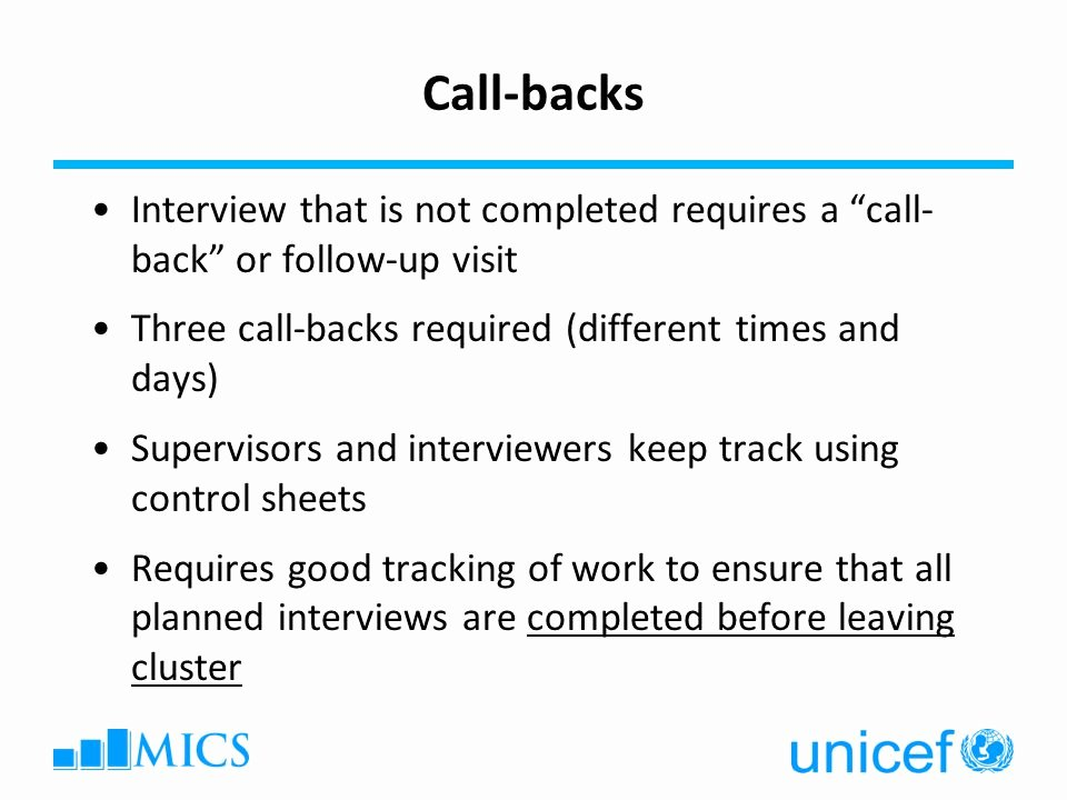 Call Back Sheet Best Of Multiple Indicator Cluster Surveys Survey Design Workshop