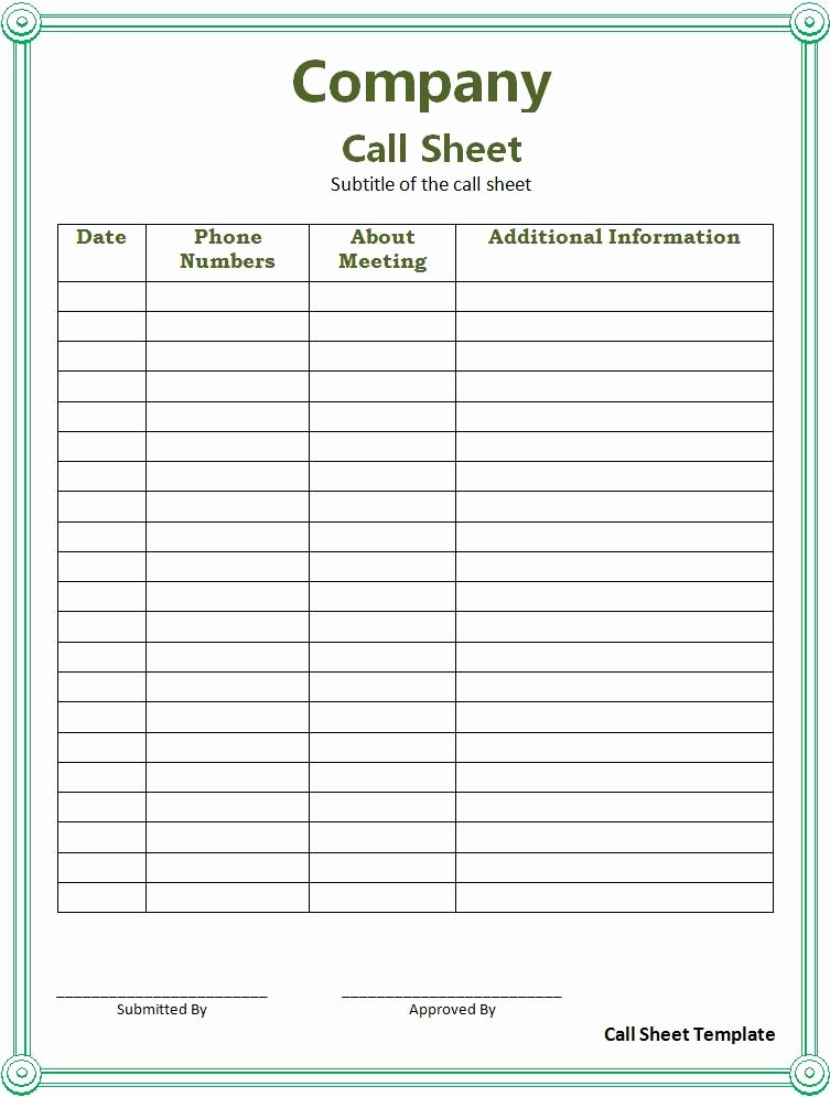 Call Sheet Samples Awesome assignment 3 Task 1