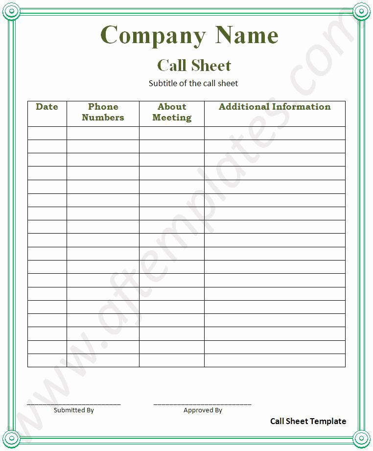 Call Sheet Samples Best Of Call Sheet Template