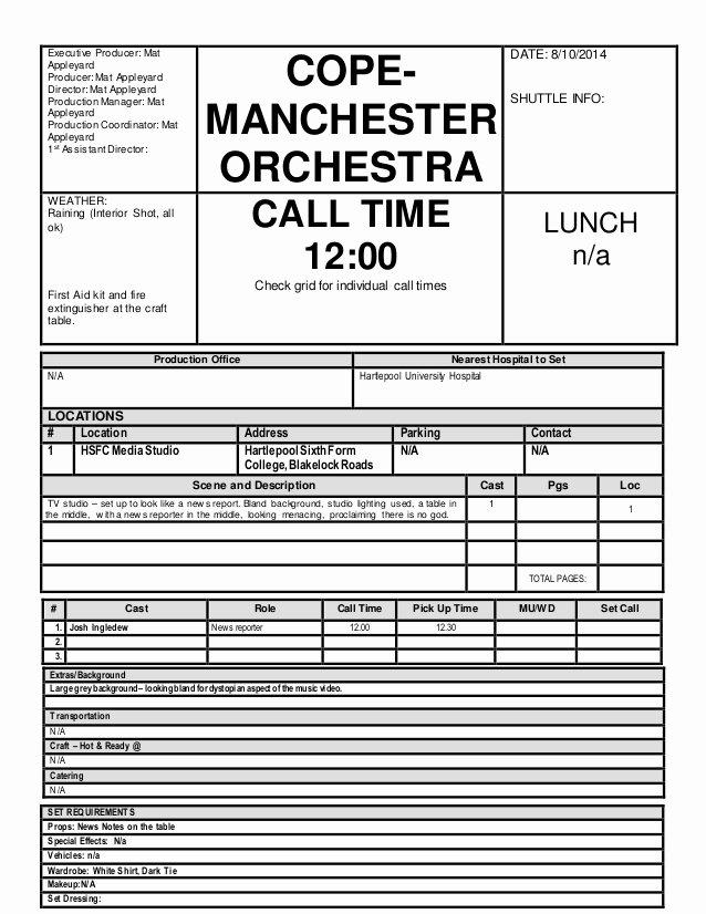 Call Sheet Samples Elegant Call Sheet Shoot 1