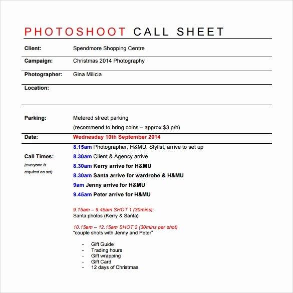 Call Sheet Samples Fresh 8 Sample Call Sheet Templates Free Sample Example format