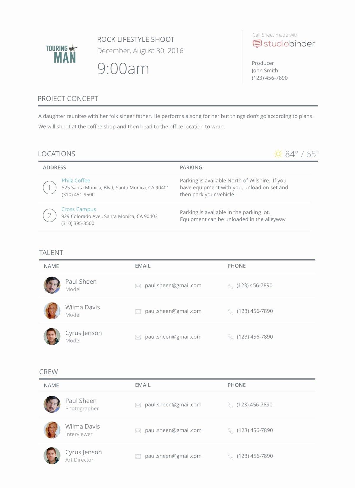 Call Sheet Samples Fresh Elegant Call Sheet Templates when Planning A Shoot