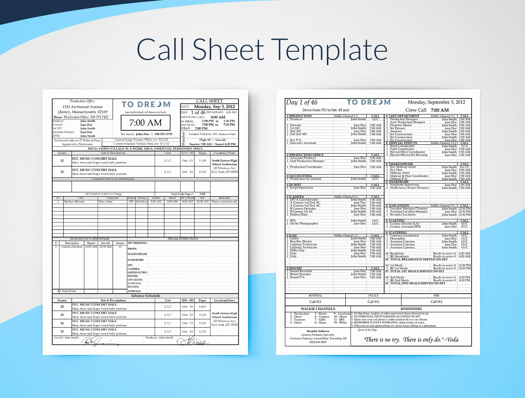 Call Sheet Samples Fresh Production Templates Free Downloads