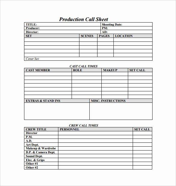 Call Sheet Samples Inspirational Call Sheet Template
