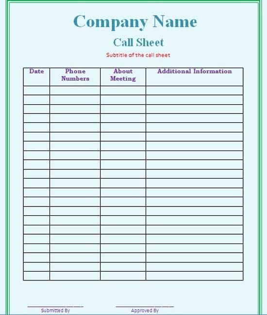 Call Sheet Samples Luxury Call Sheet Template