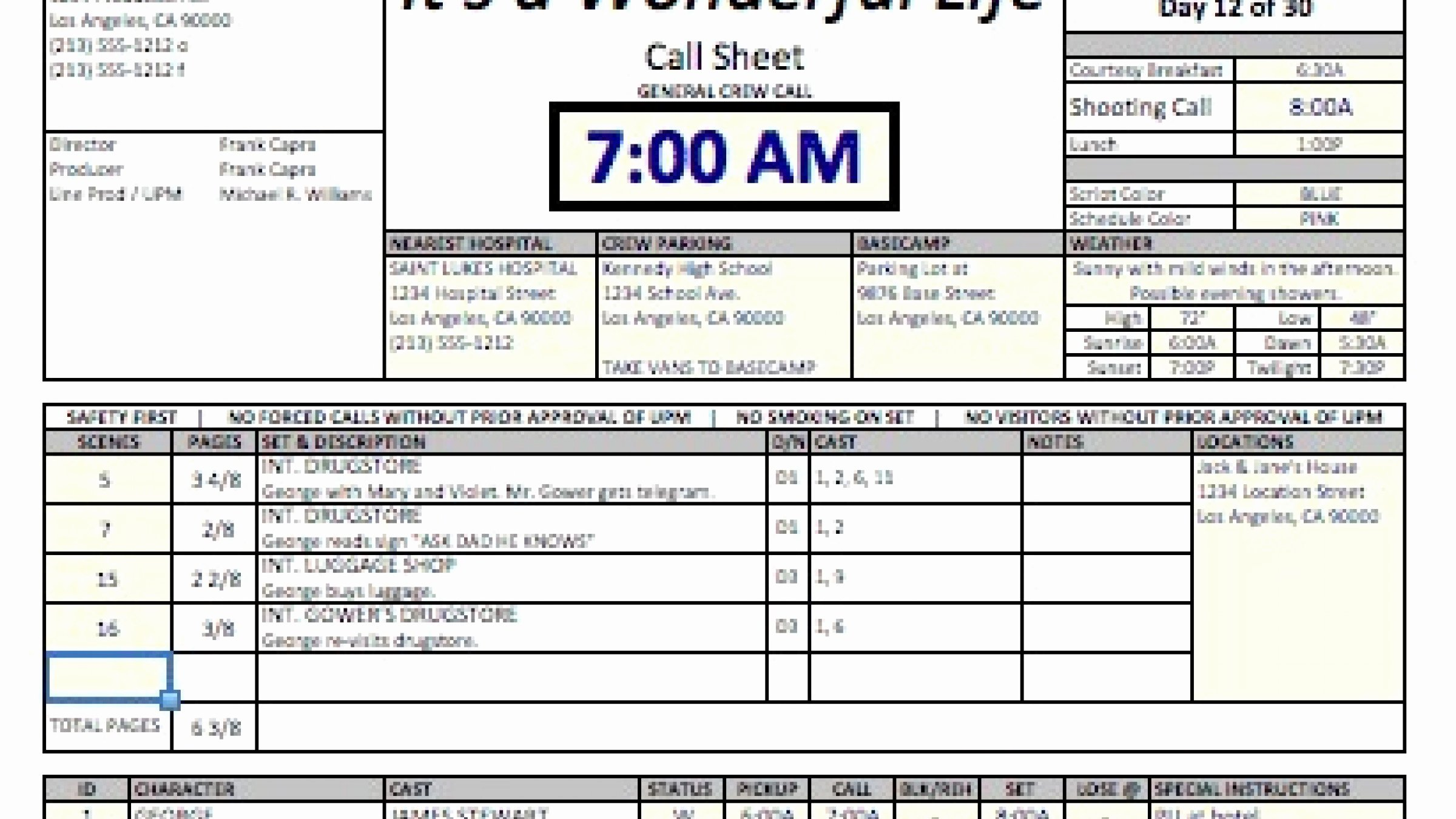 Call Sheet Samples Luxury Casper Spreadsheet Template Makes Call Sheets and