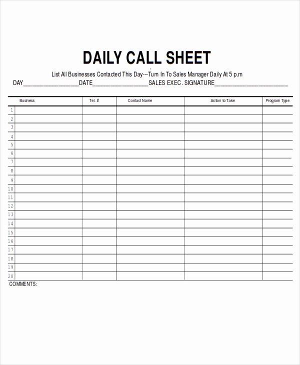 Call Sheet Samples New 9 Sales Sheet Templates Free Sample Example format
