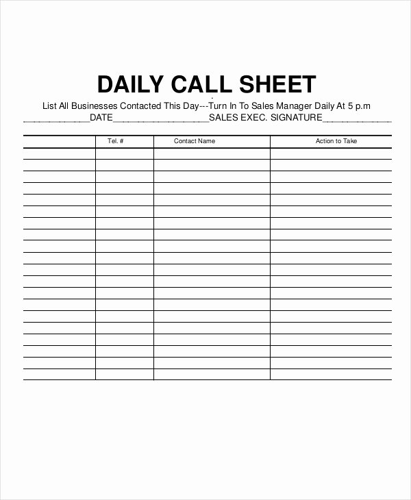 Call Sheet Template Excel Awesome Call Log Template