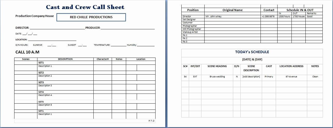 Call Sheet Template Excel Beautiful Call Sheet Template