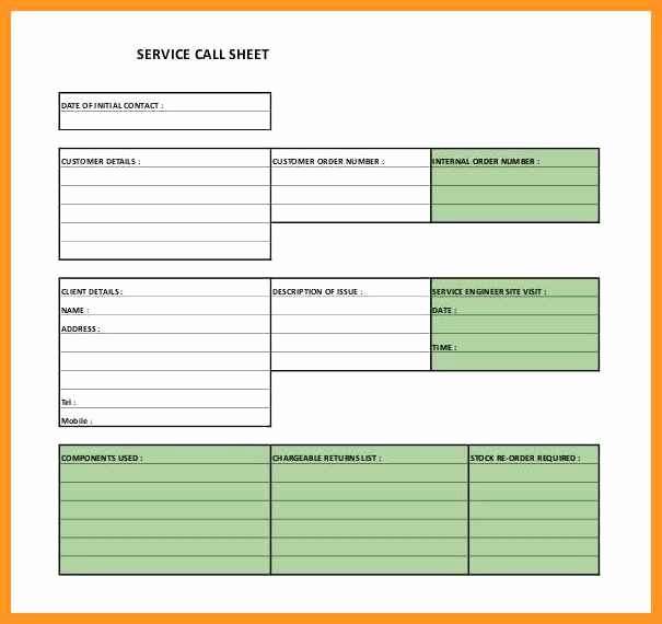 Call Sheet Template Excel Lovely 9 10 Service Sheet Template