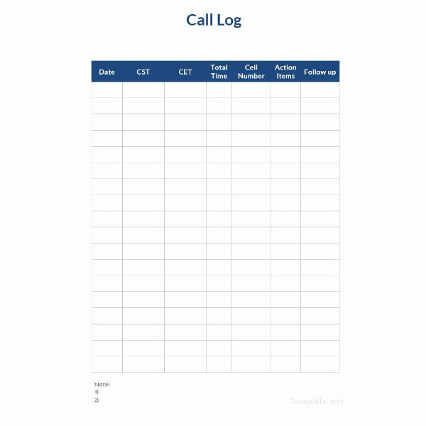 Call Sheet Template Excel Luxury 15 Call Log Templates Doc Pdf Excel