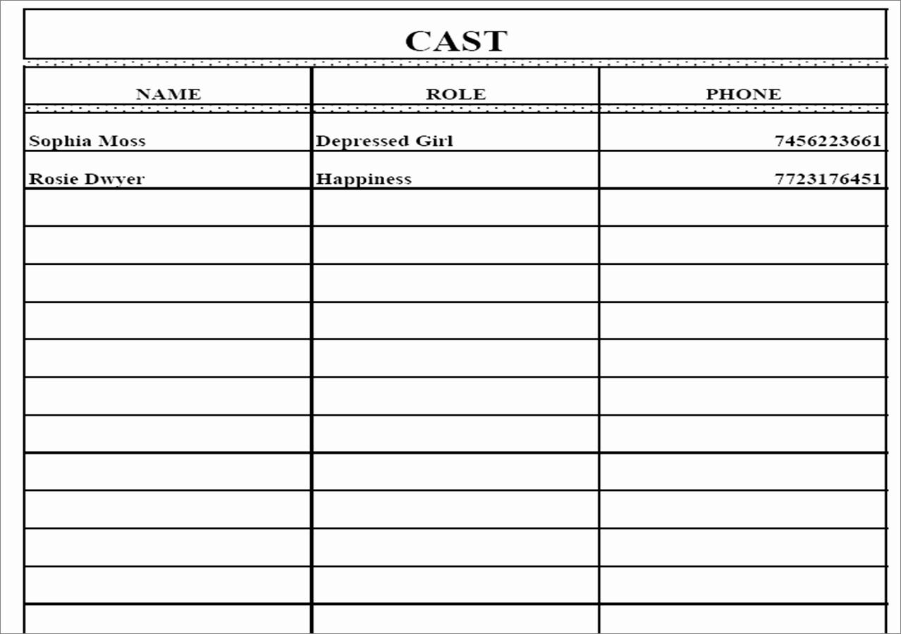 Call Sheet Template Excel New Call Sheet Template