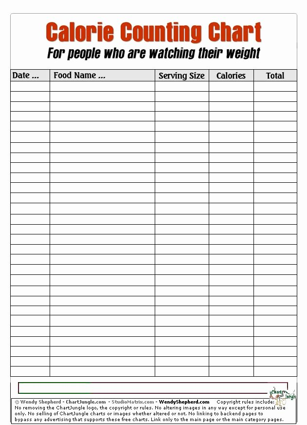 Calorie Counter Spreadsheet Luxury Calorie Counting Chart Beauty
