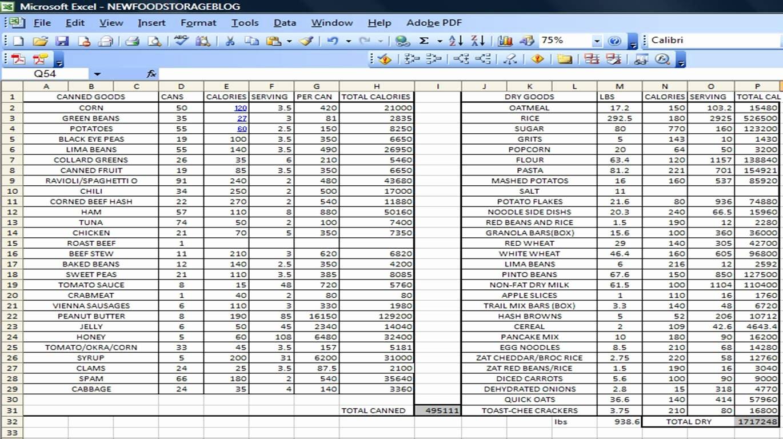 Calorie Counter Spreadsheet New Senior S Mess Excel Food Prepper List