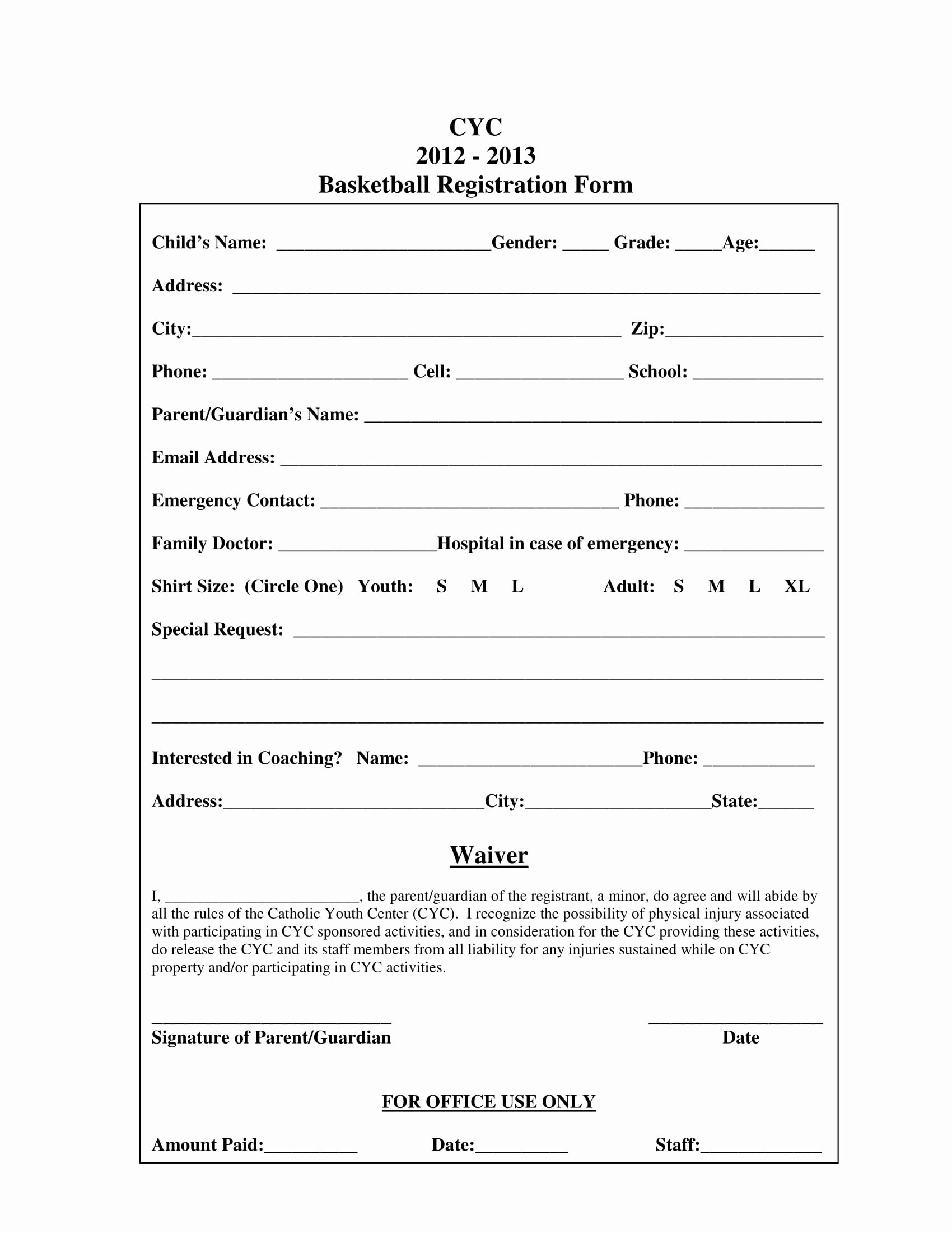 Camp Registration form Template Word Beautiful 10 Basketball Registration form Samples