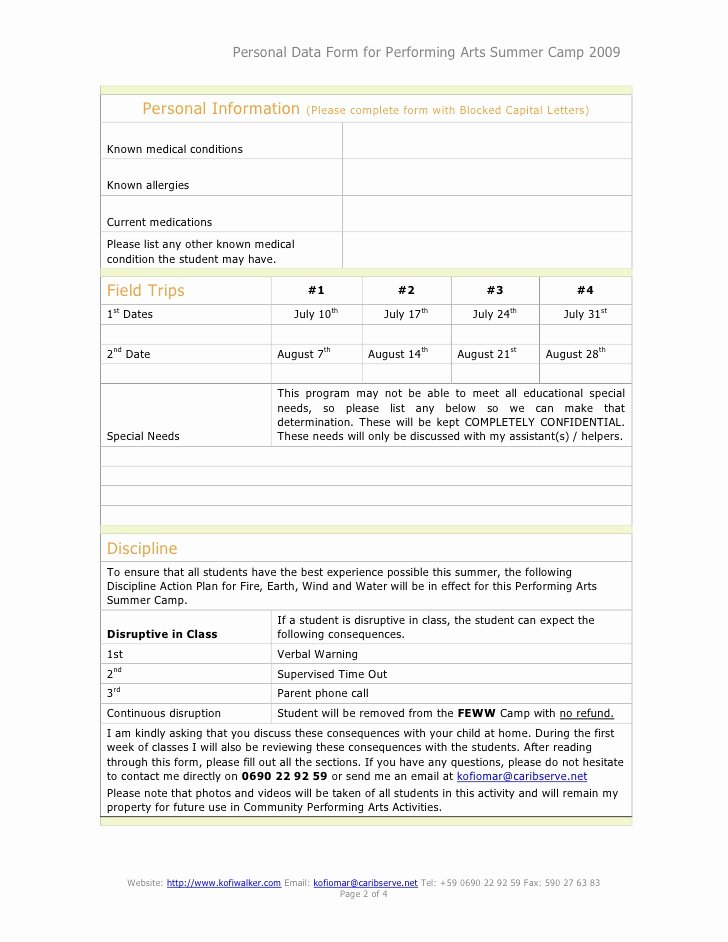 Camp Registration form Template Word Beautiful Performing Arts Summer Camp Registration form
