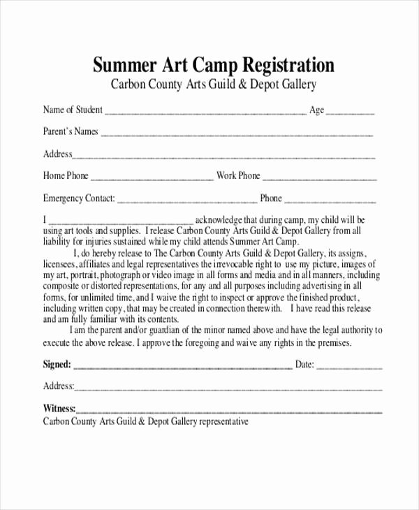 Camp Registration form Template Word Elegant Camp Registration form Template