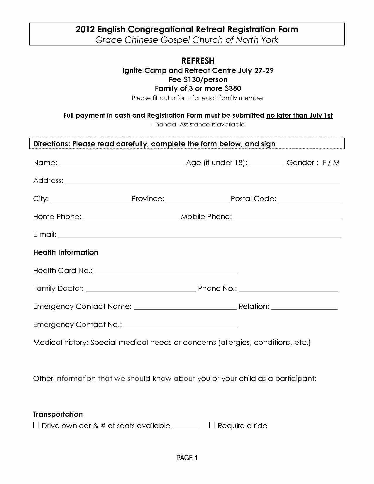 Camp Registration form Template Word Fresh Retreat Registration forms