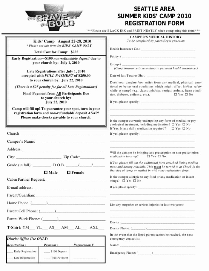 Camp Registration form Template Word Inspirational Boot Camp Registration form Template Templates Resume