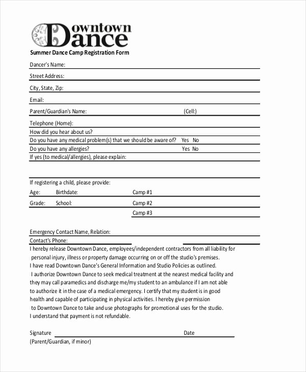 Camp Registration form Template Word Lovely Church Camp Registration form Template Templates