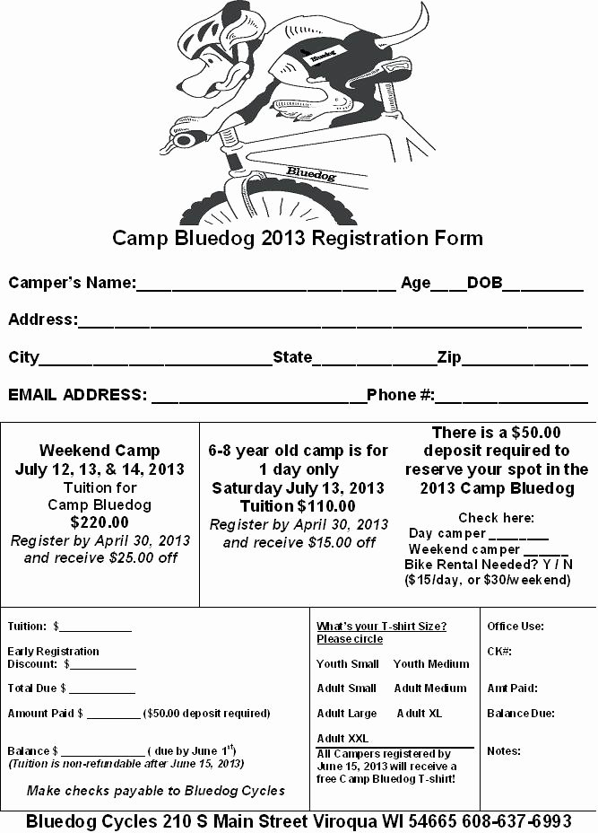 Camp Registration form Template Word New Bluedog Cycles