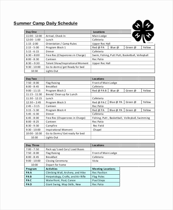 Camp Schedule Template Fresh Daily Schedule Template 9 Free Word Pdf Documents