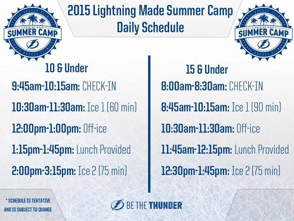Camp Schedule Template Inspirational 2017 Lightning Made Summer Camp Germain arena Tickets