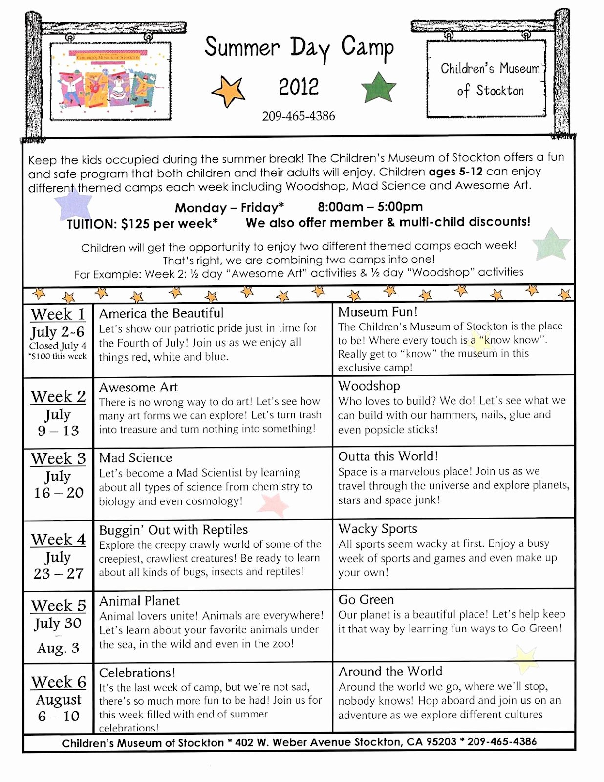 Camp Schedule Template Lovely Children S Museum Of Stockton
