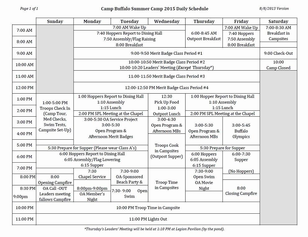 Camp Schedule Template Luxury Summer Camp Daily Schedule Template Zoro Blaszczak