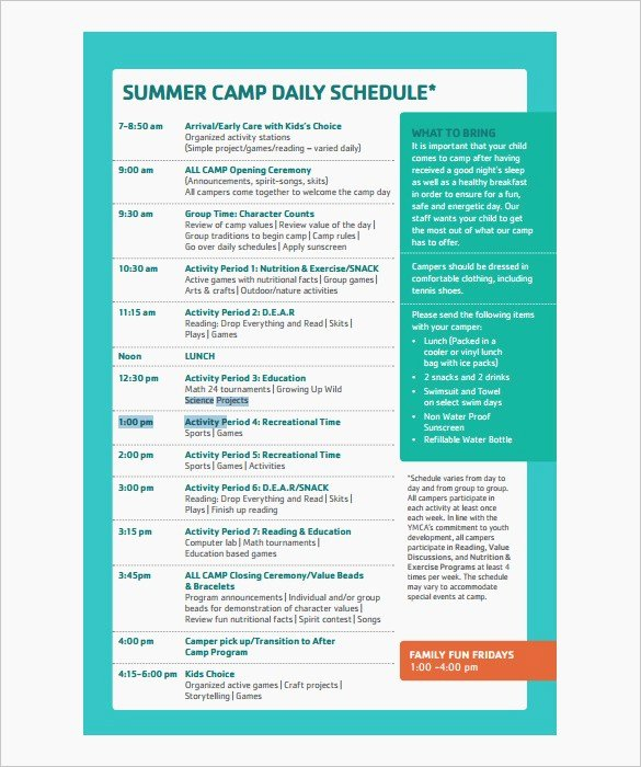Camp Schedule Template New Camp Program Ideas – Dailypoll