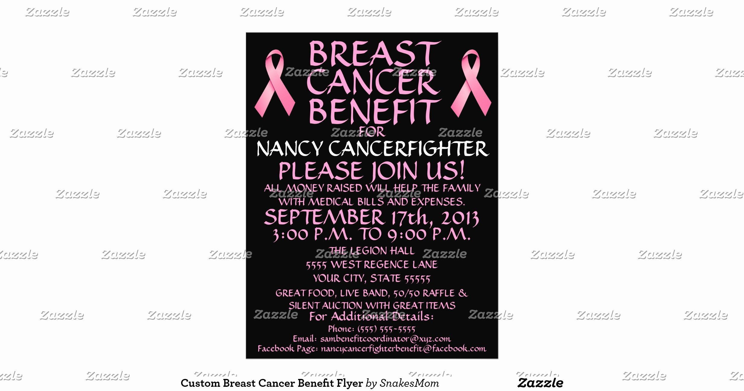 Cancer Benefit Flyer Ideas Awesome Custom Breast Cancer Benefit Flyer