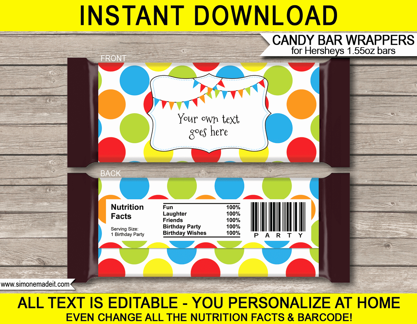 Candy Wrapper Template New Polkadot Hershey Candy Bar Wrappers