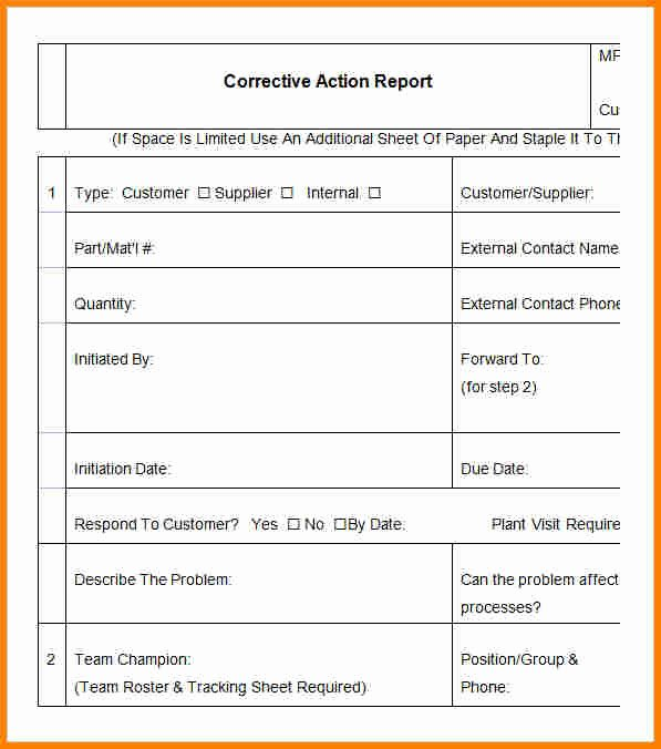 Capa Report Template Lovely 9 Corrective Action Report Template