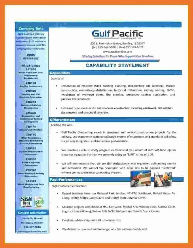 Capability Statement Template Doc Beautiful Capability Statement Template for Government Contractors