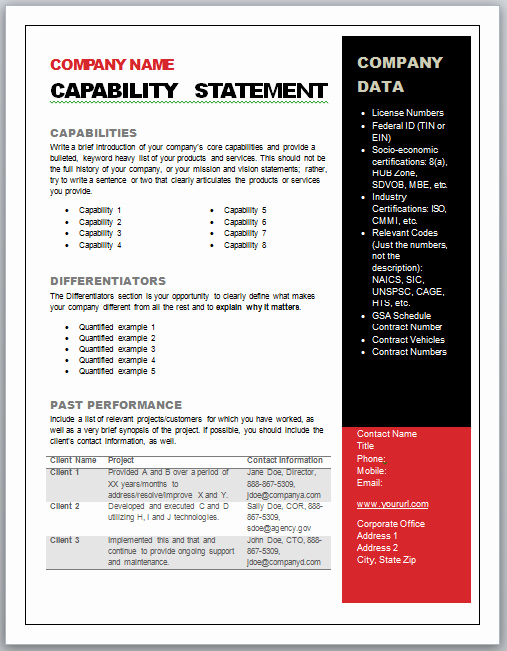 Capability Statement Template Doc Beautiful Get Started Quickly