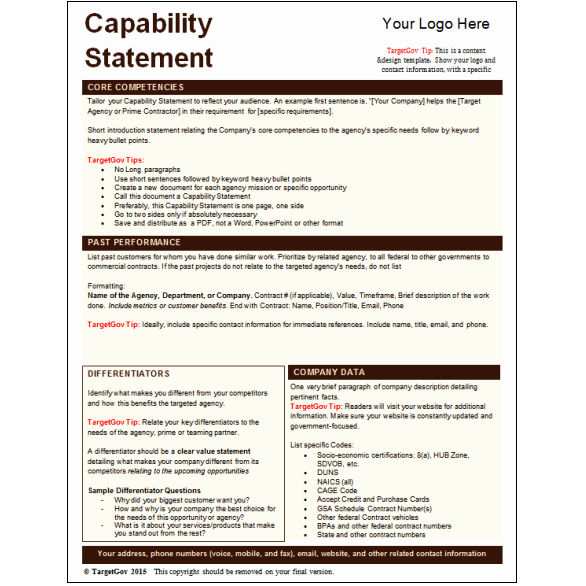 Capability Statement Template Doc Elegant Capability Statement Editable Template Tar Gov