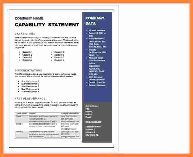 Capability Statement Template Doc Fresh 5 Capability Statement Template Word