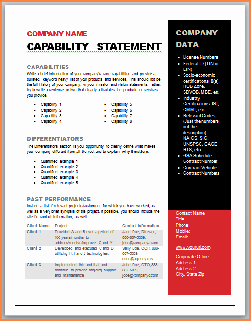 Capability Statement Template Doc Unique 7 Capabilities Statement Examples