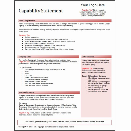 Capability Statement Template Doc Unique Capability Statement Editable Template Red Tar Gov