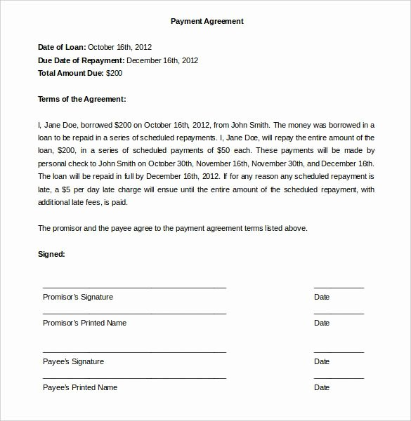 Car Accident Agreement Letter Between Two Parties New Payment Agreement Template Template