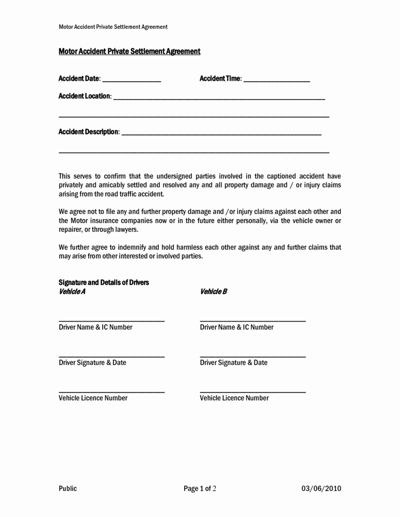 Car Accident Payment Agreement Letter Sample Beautiful Settlement and Release Sample Templates