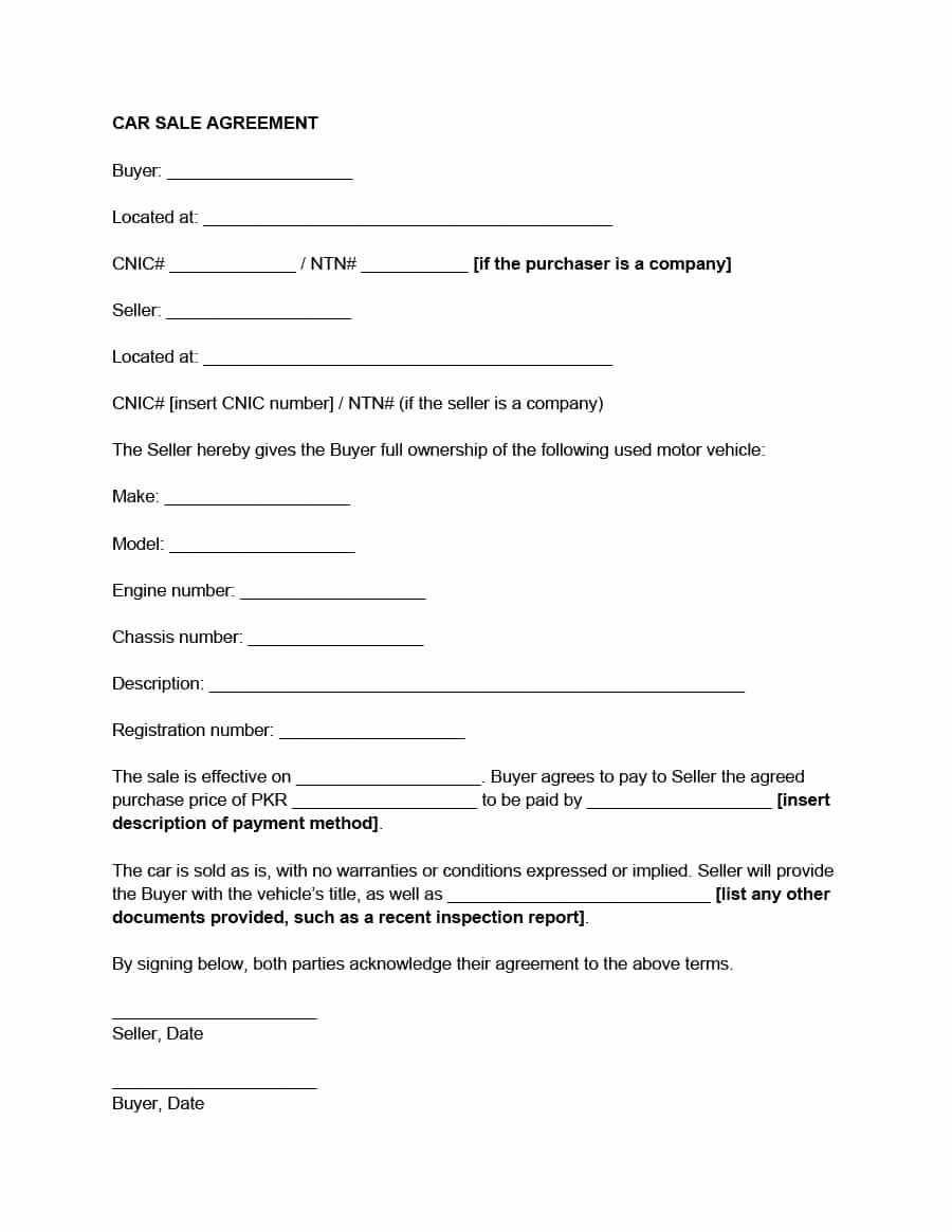 Car Accident Payment Agreement Letter Sample New 42 Printable Vehicle Purchase Agreement Templates