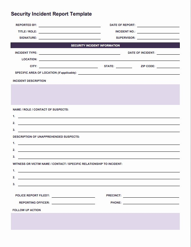 Car Accident Report form Template Beautiful Free Incident Report Templates & forms