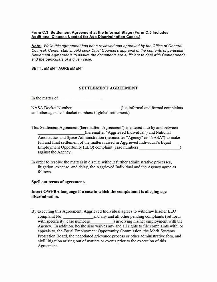Car Accident Settlement Agreement form Awesome 36 Expert Settlement Agreement form Za U