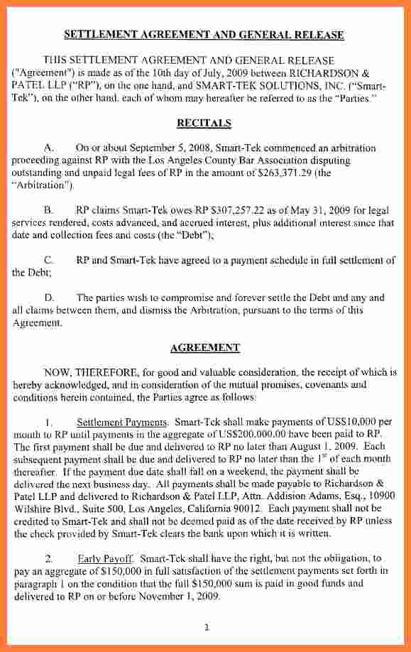 Car Accident Settlement Agreement form Beautiful 4 Settlement Agreement and Release